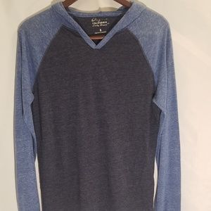 Men's blue Lucky blue shirt long sleeves, hood